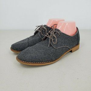 Tom's Women's Gray Wool Brogues Lace Up Round Toe Oxford Shoes Size 8.5